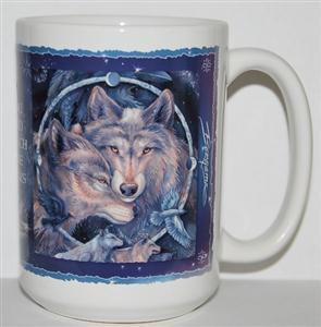 Beautiful new Wolf Mug with inspirational words.