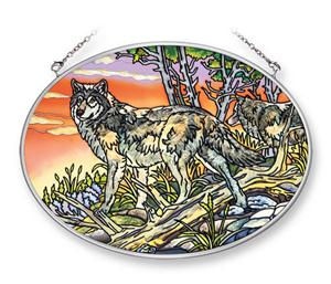 New Al Agnew Wolf art on hand painted glass.