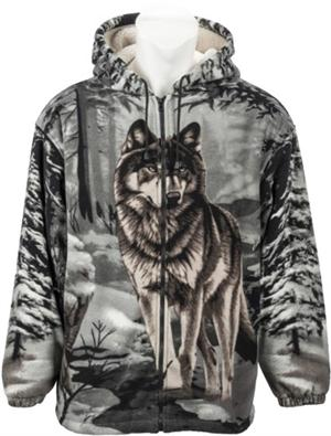 Beautiful Wolf on front and back, fully lined