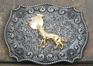 Great Wolf design on this belt buckle.
