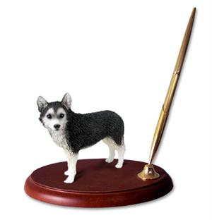 Full size Husky Figurine on wood base with pen
