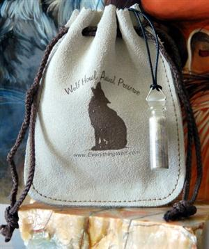 Real Wolf Fur in a bottle, comes in a leather keepsake bag