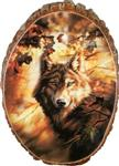 View details for this Evening Glow Wolf Cedar Plaque