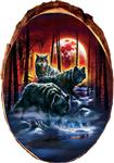 View details for this Fire Moon Hunters Wolf Cedar Plaque