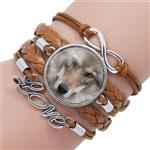 View details for this Gray Wolf Leather Bracelet