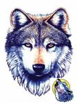 Large Wolf Face, Small Howl Temp Tattoo