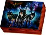 Three Wolves Cedar Box