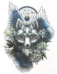 Angel Wolf Dreamcatcher Temp Tattoo