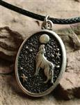 View details for this Wolf Howl Oval Necklace