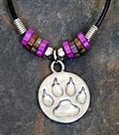 View details for this Wolf Pawprint on Leather Cord