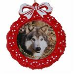 View details for this Wolf Red Wreath Ornament - Niko Akni