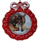 View details for this Wolf Red Wreath Ornament - Nita