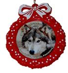 View details for this Red Wreath Wolf Ornament - Wa-ta-chee