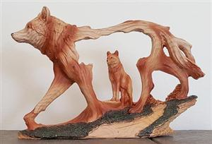 New for 2017, Wolf wood like figurine.