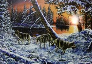 New lighted Wolf Picture design that is ready to hang.