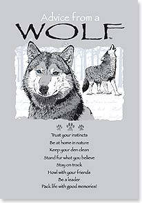Inside has a watermarked howling Wolf