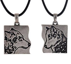 Two Wolf necklaces, buy one for a friend or lover.