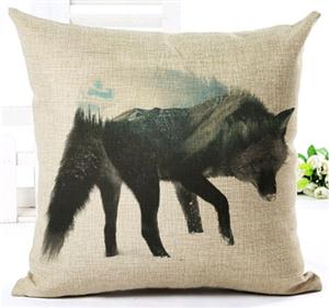 This pillow has an outstanding new Wolf design.