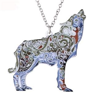 This is a really fun paisley print wolf necklace.