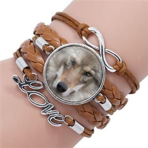 Gorgeous Wolf face on this new leather bracelet.