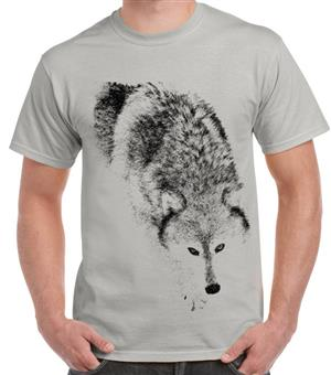 A WHAP favorite Wolf t shirt now in ice gray.