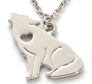 This necklace has a cutout heart on the Wolf.