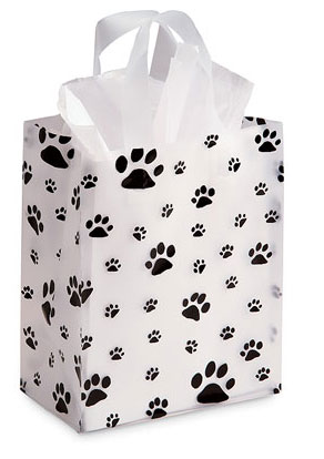 Frosty Gift Bag decorated with Paw pints, tissue included