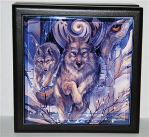 Wolf graphic on tile, lined wood box.