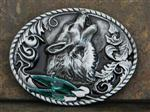 Howling Wolf and Feathers Belt Buckle
