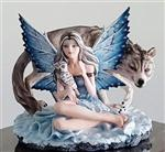 View details for this Snow Fairy with Wolf and Owl Figurine