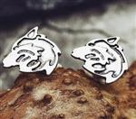 Stainless Steel Wolf Post Earrings