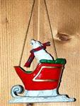 Arctic Wolf in Sleigh ornament