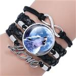 View details for this Wolf Howl Leather Bracelet