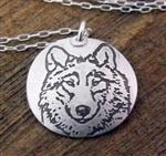 View details for this Wolf Portrait Necklace