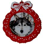 View details for this Wolf Red Wreath Ornament - Waya