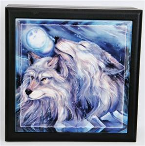 Breathtaking Wolf graphics on a tile top.