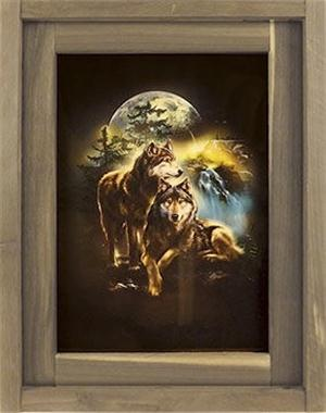 Popular Wolf Art in a wood frame.