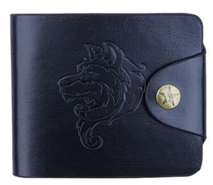 Wolf embossed on the front of this wallet.
