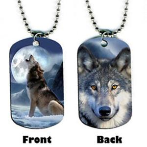 This Wolf dog tag has an image on both sides.