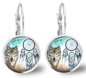 Cute Wolf Earrings with dreamcatchers, too.