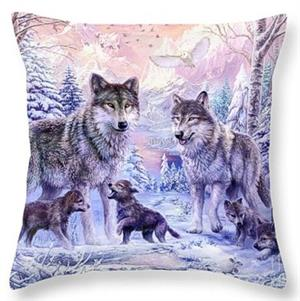 Beautiful graphics on this best selling wolf pillow.