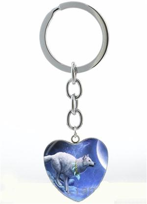 Buy a very cute new heart shaped Wolf keychain.