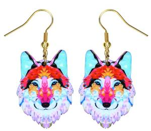 The design on these wolf earrings is on both sides.