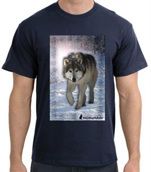 Beautiful new Wolf design on this navy t shirt.