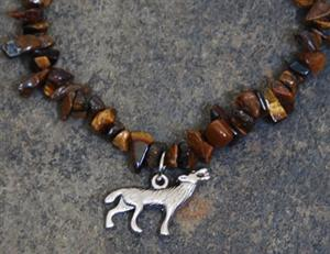 Pewter Wolf pendant and gemstone chips