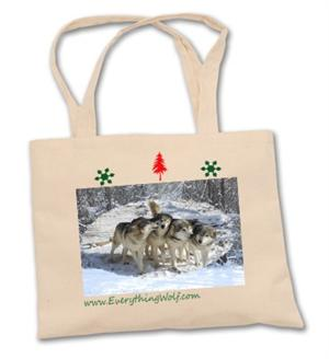Use this Wolf Holiday Tote as the perfect Gift Bag