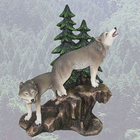 Beautiful Wolves in a forest setting